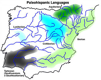 Paleohispanic scripts - Paleohispanic languages according to inscriptions (except Aquitanian - according to anthroponyms and theonyms used in Latin inscriptions).