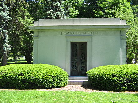 Thomas R. Marshall's family burial plot in Crown Hill Cemetery, Indianapolis, Indiana MarshallGrave.jpg
