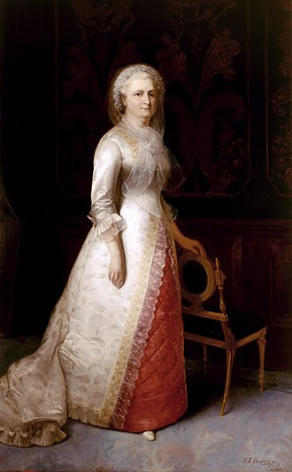Eliphalet Frazer Andrews - Andrews' full-length portrait of Martha Washington (1878), based on a head and bust oil sketch from life by Gilbert Stuart, shows anachronistic details of costume and the American Renaissance chair.
