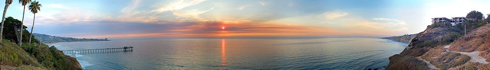 Martin Johnson House, SIO, La Jolla Shores - at sunset pano.jpg