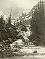 Mary Vaux Walcott - A stepped waterfall with Mount Temple and Mount Hungabee.jpg