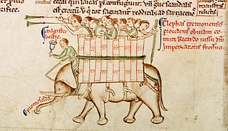 Matthew Paris - Elephant from Chronica maiora, Part II, Parker Library, MS 16, fol. 151v