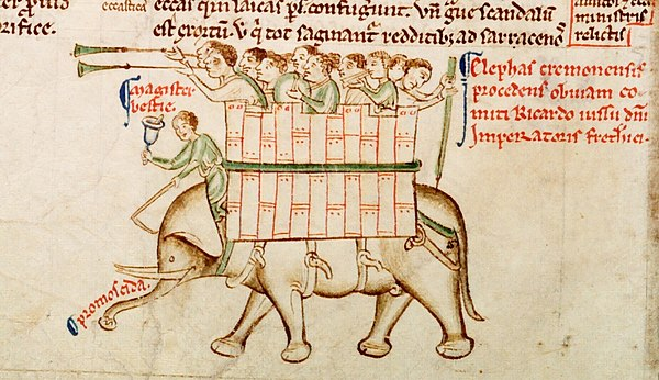 Elephant from Chronica maiora, Part II, Parker Library, MS 16, fol. 151v Matthew Paris Elephant from Parker MS 16 fol 151v.jpg