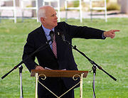Speaking in Albuquerque, New Mexico on Memorial Day, 2008, wearing his purple heart