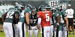 2009 Philadelphia Eagles season - Donovan McNabb and Eagles offense huddle during training camp