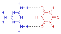 Melamine-cyanuric acid chemical structure color.png
