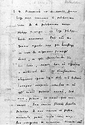 Brief Melanchthons an den pommerschen Superintendenten Jakob Runge, verfasst am 14. April 1560, fünf Tage vor seinem Tod (Quelle: Wikimedia)