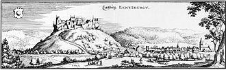 Lenzburg Castle - View of Lenzburg and Lenzburg Castle in about 1642, by Matthäus Merian