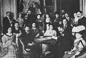 Alexander Scriabin - Scriabin (sitting on the left of the table) as a guest at Wladimir Metzl's home in Berlin, 1910