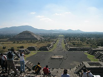 Pre-Columbian Mexico - View of Avenue of the Dead from Pyramid of the Moon