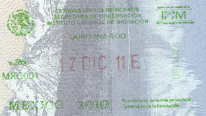 Visa policy of mexico wikipedia mexico entry stamp issued at the quintana roo land border crossing along the belize mexican border sciox Gallery