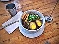 Minced pork on rice, soy-braised egg, house daikon pickle.jpg
