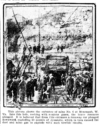 Monongah mining disaster - Rescuers going into the mouth of the No. 6 mine, newspaper photo.