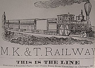 Sedalia, Missouri - 1881 advertisement for the K-T line