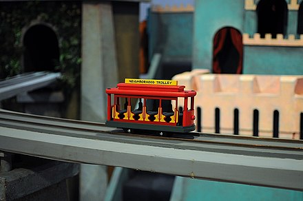 The Neighbourhood Trolley. a model tram that is commonly featured on Mister Rogers' Neighborhood. Mister Rogers Trolley.jpg