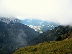 Mittenwald town, as it looks from one of the peaks nearby