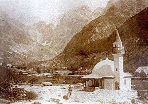 Bosniaks of Slovenia - The first Bosniak mosque in Slovenia was built in 1916 in Log pod Mangartom on the slopes of the Alps.