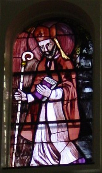 Modestus (Apostle of Carantania) - Window depicting Modestus in the church of Liesing, Austria