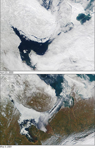 White Sea - Two satellite photos of the White Sea taken on 23 April 2000 (top) and 3 May 2001 (bottom)