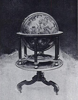 Emery Molyneux - One of Molyneux's celestial globes, which is displayed in Middle Temple Library – from the frontispiece of the Hakluyt Society's 1889 reprint of A Learned Treatise of Globes, both Cœlestiall and Terrestriall, one of the English editions of Robert Hues' Latin work Tractatus de Globis (1594)