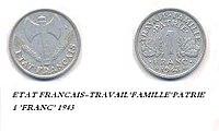 1 frank, Vichy-regime