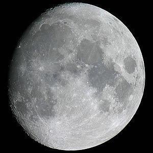 The waxing gibbous Moon as observed from Earth