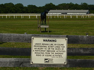 "Disclaimer - Disclaimer of liability for ""equine professionals"" (Indiana)"