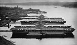 Mothballed aircraft carriers at the Puget Sound Naval Shipyard in 1948 (NH 79051).jpg