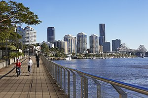 East Brisbane, Queensland - Looking north-west from Mowbray Park in East Brisbane towards Kangaroo Point and the CBD