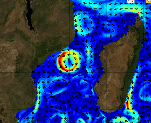 Mozambique Current - visualisation of ocean currents