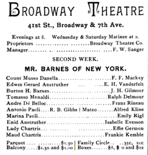 Broadway Theatre (41st Street) - Advertisement for an adaptation of Mr. Barnes of New York, 1888