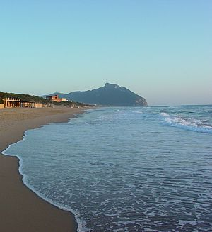 Parco Nazionale del Circeo - Mount Circeo as seen from the beach of dunes in Sabaudia, Italy.