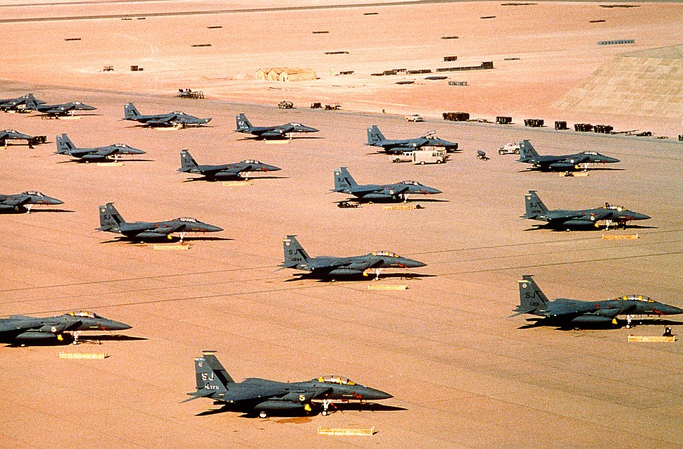 Multiple F-15E parked during Operation Desert Shield