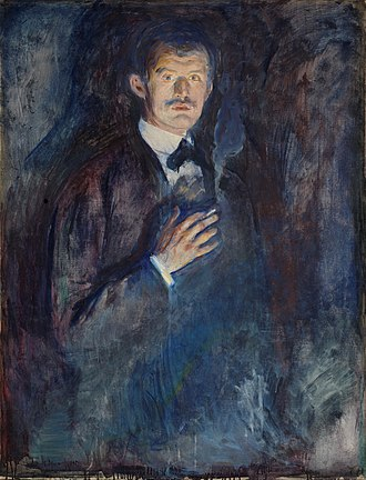 """Tobacco and art - Edvard Munch """"Self-Portrait with Burning Cigarette""""."""