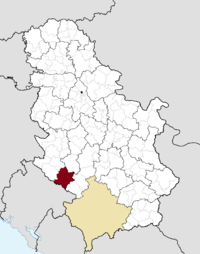 Location of the municipality of Sjenica within Serbia