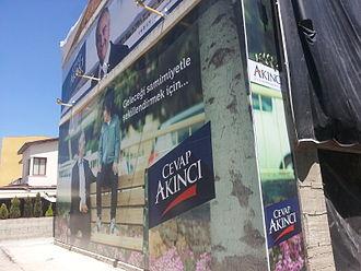 Northern Cyprus presidential election, 2015 - Poster promoting Mustafa Akıncı in Dereboyu Avenue, Northern Nicosia