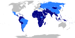 Map of the world indicating members and observers of the Non-Aligned Movement