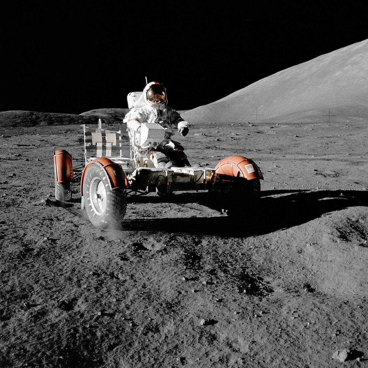 Apollo 17 mission, 11 December 1972. Astronaut Eugene A. Cernan, commander, makes a short checkout of the Lunar Roving Vehicle (LRV) during the early part of the first Apollo 17 Extravehicular Activity (EVA-1) at the Taurus-Littrow landing site.