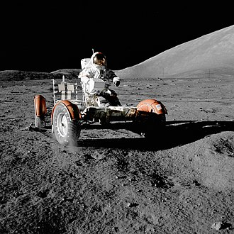 Apollo 17 - Eugene Cernan aboard the Lunar Roving Vehicle during the first EVA of Apollo 17