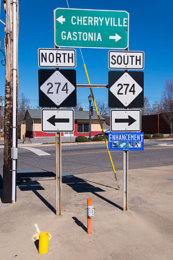 Directional signs of NC 274, at the end of NC 161, in Bessemer City