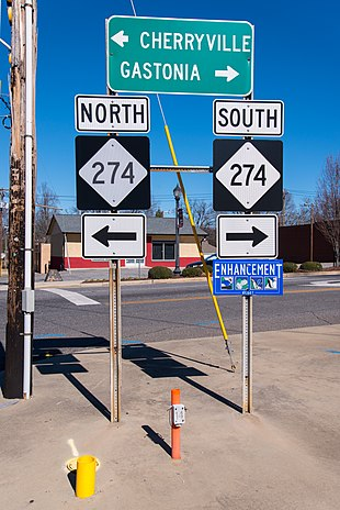 "Directional signs of <a href=""http://search.lycos.com/web/?_z=0&q=%22North%20Carolina%20Highway%20274%22"">NC 274</a>, at the end of <a href=""http://search.lycos.com/web/?_z=0&q=%22North%20Carolina%20Highway%20161%22"">NC 161</a>, in Bessemer City"