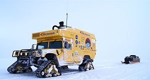 "Mattracks Inc. - The Mars Institute ""HMP Okarian"" Humvee with Mattracks during the Northwest Passage Drive Expedition (2009-2011)."