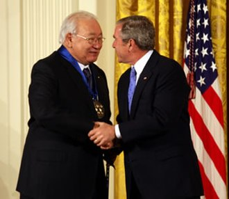 N. Scott Momaday - N. Scott Momaday (left) receiving the National Medal of Arts from U.S. president George W. Bush in 2007