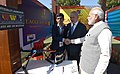 Narendra Modi and the Prime Minister of Israel, Mr. Benjamin Netanyahu visiting the Startup Exhibition and interacting with innovators and Startup CEOs at iCreate Center, at Deo Dholera Village, in Ahmedabad, Gujarat (3).jpg
