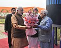 """Narendra Modi being received by the Governor of Haryana, Prof. Kaptan Singh Solanki and the Chief Minister of Haryana, Shri Manohar Lal Khattar at the launch of the """"Beti Bachao Beti Padhao"""" Programme, at Panipat, in Haryana.jpg"""
