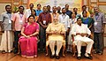 Narendra Modi in a group photograph at an informal interaction with the National Awardee Teachers, on eve of the Teachers' Day, in New Delhi. The Union Minister for Human Resource Development (2).jpg