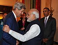 Narendra Modi meeting the US Secretary of State, Mr. John Kerry, at the private dinner hosted by the President Barack Obama of the United States, in his honour, at the White House, in Washington DC on September 30, 2014.jpg