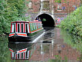 Narrowboat leaving the east portal of Brandwood Tunnel, Birmingham - geograph.org.uk - 1726035.jpg