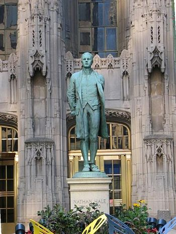 Nathan Hale statue outside the Chicago Tribune...