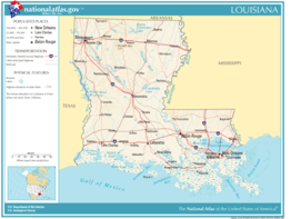 Kaart van State of LouisianaÉtat de Louisiane
